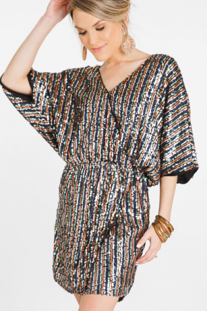 Party Girl Sequin Wrap Dress
