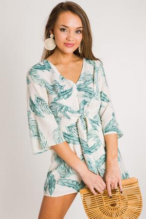 Palm Print Romper, Ivory