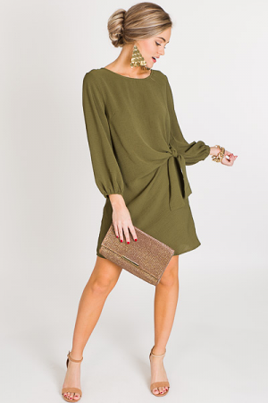 Side Tie Dress, Olive