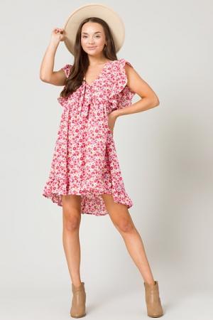 Tie Neck Floral Dress, Pink