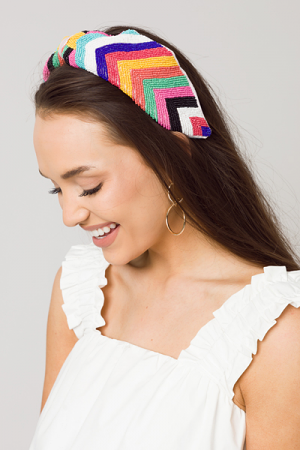 Rainbow Beaded Headband