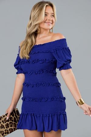 Smock Talk Mini Dress, Blue Raspberry