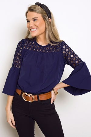 Tyler Lace Top, Navy