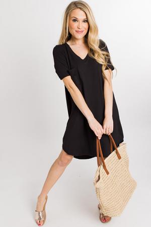 Pocket Tshirt Dress, Black