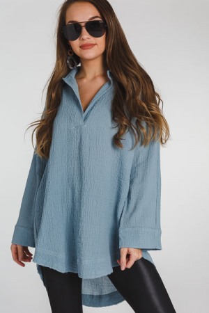Bubble Crinkled Collared Tunic