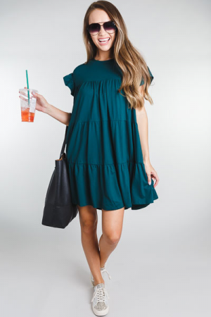 Creamy Knit Tiered Dress, Green