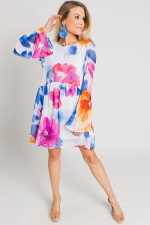 Royal Watercolor Babydoll Dress