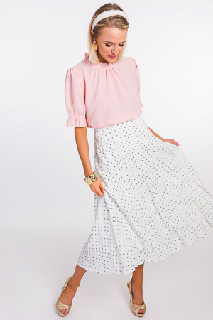 Pleated Dot Midi Skirt, Off White