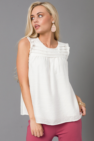 Pleated Chest Tank, Off White
