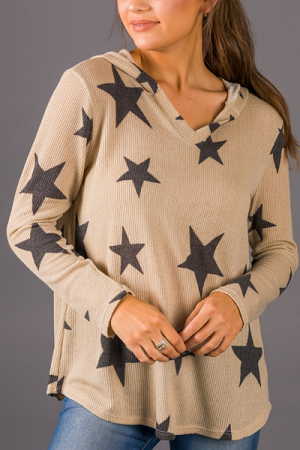 Stars Hooded Thermal, Taupe