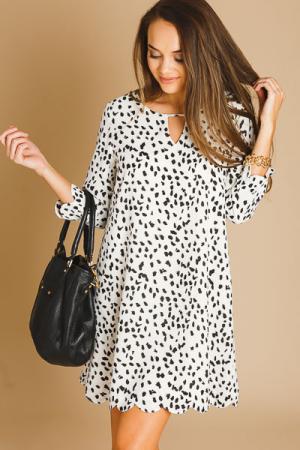 Ink Dots Scalloped Dress