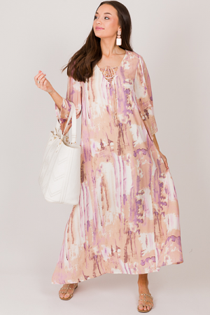Lace Up Dyed Maxi, Lavender