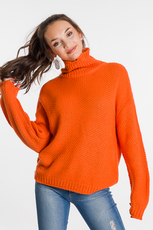 Bright Chunky Sweater, Orange