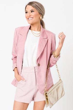 Ribbed Velvet Blazer, Pink