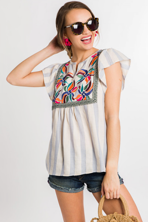 Beach Embroidery Top, Blue