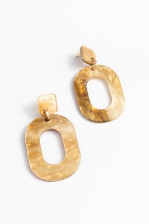 Acrylic Oval Earrings, Natural