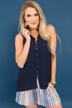 Bronze Buttons Top, Navy