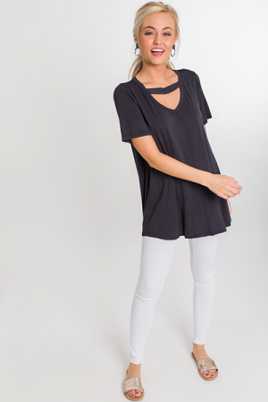Bamboo Knit Bar Tee, Black
