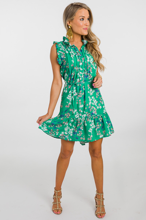 Sweet Escape Floral Dress, Green