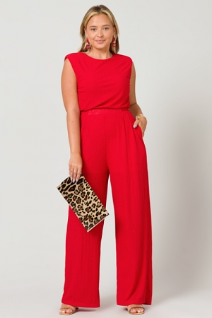 Ribbed Red Jumpsuit