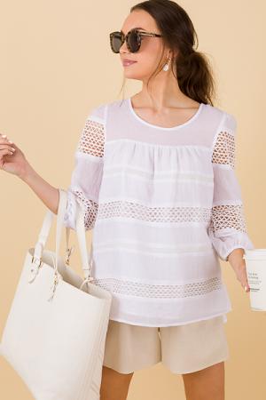Crochet Lanes Top, White