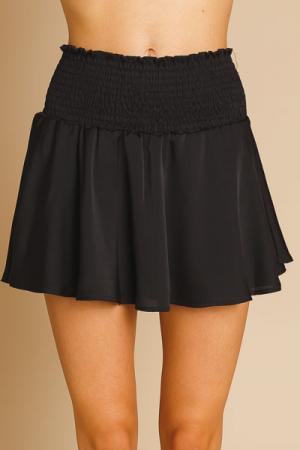 Satin Smocked Shorts, Black