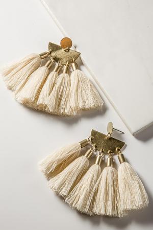 Tassel Earrings, Cream