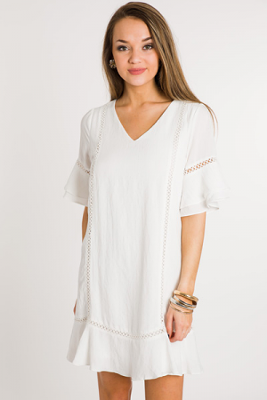 Hopscotch Ruffle Dress, Off White