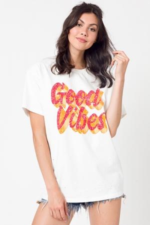 Good Vibes Distress Tee