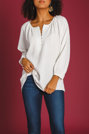 Gauze Half Button Blouse