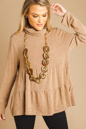 Cowl Neck Tiered Top, Taupe