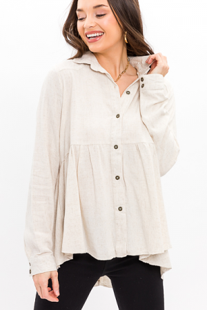 Button Babydoll Tunic, Oatmeal