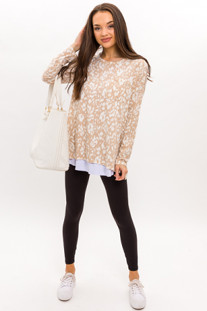 Printed Pocket Tunic, Taupe