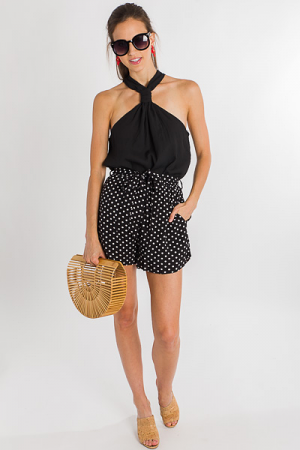 Polka Dot Tie Shorts, Black