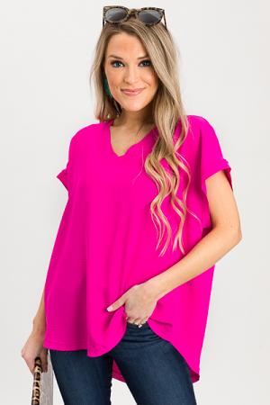 Darla Boxy Blouse, Hot Pink