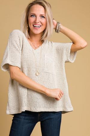 Short Sleeve Sweater, Natural