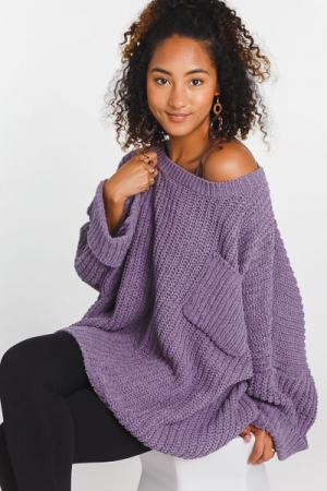 Oversized Chenille Sweater, Purple