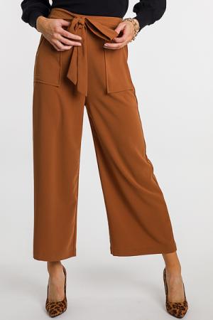 Front Tie Flowy Pants, Chestnut