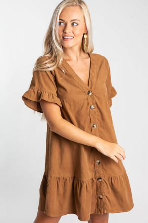 Caramel Corduroy Button Dress