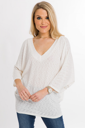 Ribbed Cocoon Top, Off White