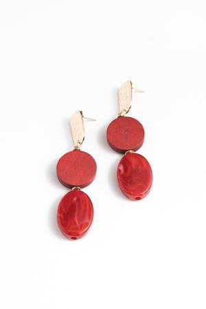 Wooden Drops Earring, Red