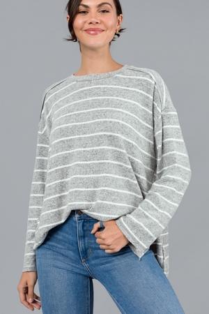 All Neutral Stripes Top, H. Grey