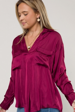 Brant Silky Blouse, Beet Red