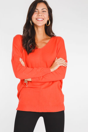 Everyday V Neck Tunic, Coral