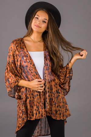 Mindy Animal Kimono, Cinnamon
