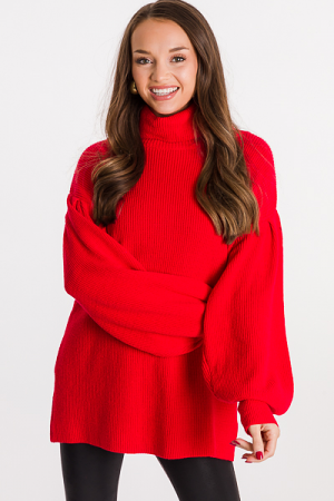 Mary Turtleneck Sweater, Red