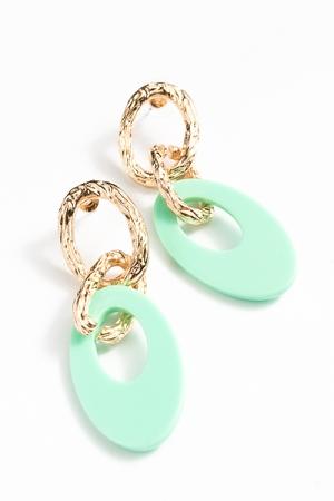 Oval Acrylic & Chain Earrings, Mint