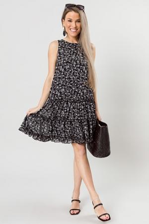 Melinda Floral Dress, Black