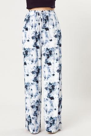 Wide Leg Dye Pants, Navy
