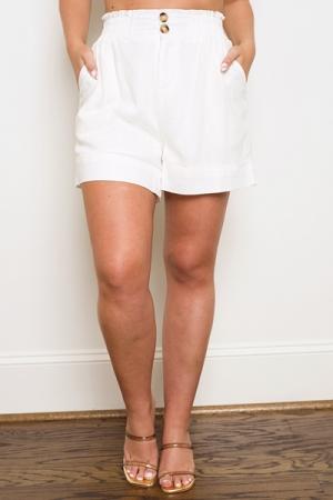 Double Button Linen Short, Ivory